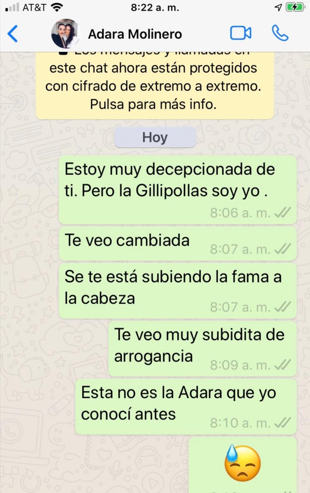 Una fan se gasta 12.000 euros en Adara. Se siente engañada y se lo hace saber por WhatsApp