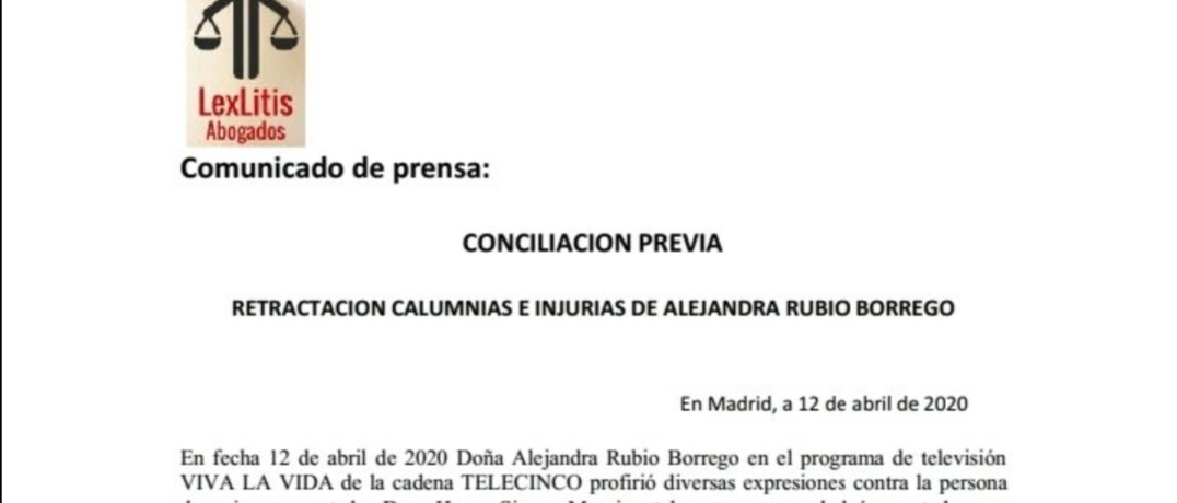 Comunicado oficial y razones de la querella a Alejandra Rubio por parte de Hugo Sierra